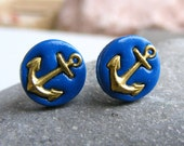 Anchor earrings for men Father's day gift for him blue Anchor studs blue studs for men Marine corps gift blue post earring polymer clay stud