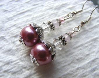 LAST PAIR Baby pink  - antique look earrings