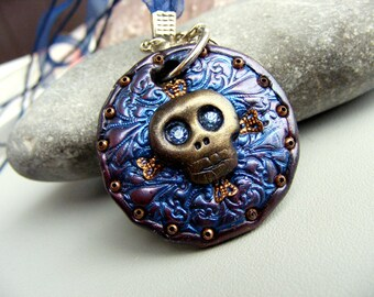 Steampunk necklace skull necklace skeleton pendant  polymer clay pendant Statement necklace skull jewelry geek gift goth jewelry death rock
