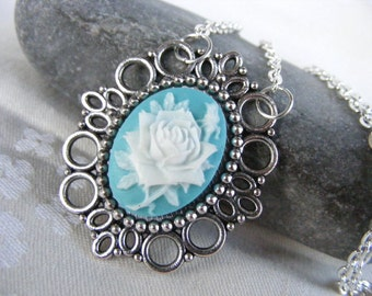 Black Friday sale Cyber Monday sale Christmas gift cameo pendant cameo necklace Cameo shabby style blue rose filigree silver Floral beadwork