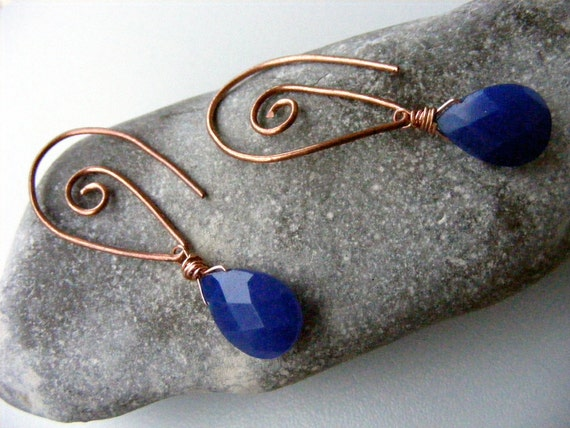 Copper swirls collection  - antique look earrings