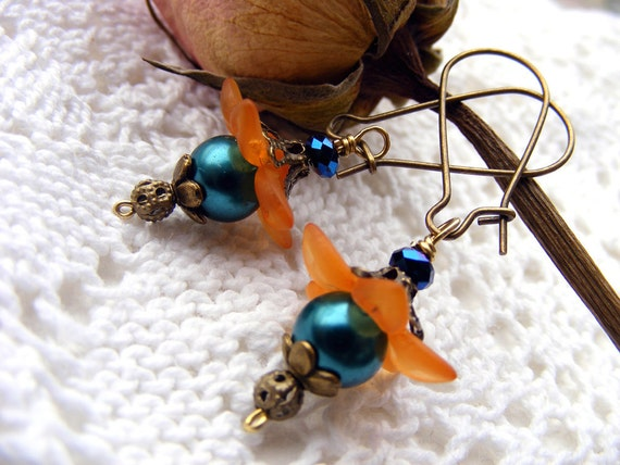 Teal and orange Floral lucite flower earrings vintage look black friday cyber monday sale dangle drop eco