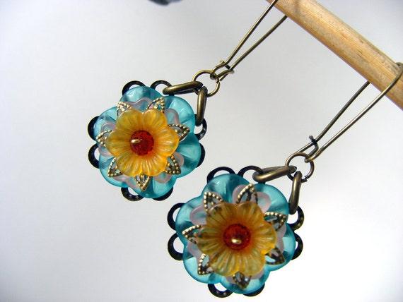 Spring garden long teal orange lucite flower earrings vintage Beadwork Birthstone Button Chandelier Cluster Dangle Drop Eco-Friendly Hoop
