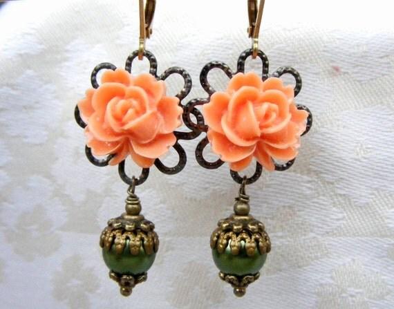 Vintage earrings dangle earrings bohemian earrings Peach drop earrings green Romantic Beadwork Button Chandelier Cluster Eco Friendly Hoop