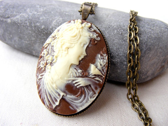 Diana goddess hunting forest Cameo shabby brown Bronze cream vintage affordable pendant