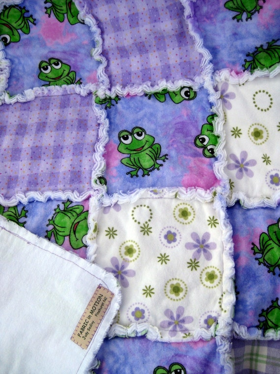 Child's Flannel Rag Quilt with Frogs SALE PRICED