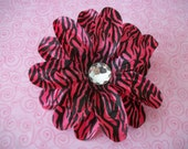 5 Inch Hot Pink & Zebra Tropical Lily Hair Clip