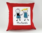Quirky personalized wedding present cross stitch cushion  - square, 18 inches