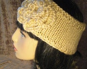 Hand knitted headband / earwarmer with flower. SALE. Gorgeous tan color.
