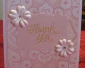 Sweet pink and white handmade thank you card