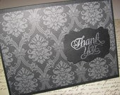 Black damask thank you card