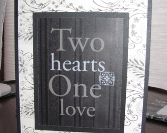 Handcrafted, Handmade, Two Hearts One Love, Wedding Card, Love Card, Anniversary Card, Valentine's Day Card, Blank Card, Greeting Card, Vday
