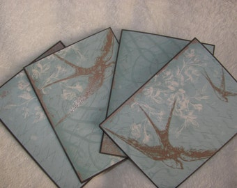 Handcrafted, Handmade, Ancestral Bird Flourish Note Card Set of 4, Note Cards, Blank Cards, All Occasion Cards, Invitations, Thank You Cards