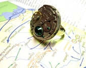 SteamPunk Ring With Green Swarovski Crystals - Russian 17 Rubis Jewels Watch - Communism, Iron Curtain - Free Shipping