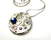 SteamPunk Pendant With Colorful Swarovski Crystals - Russian - Clockwork - Moving Parts - Iron Curtain - Free Shipping