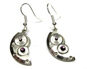 SteamPunk Earrings - Violet Swarovski Crystals - Communism, Iron Curtain - Free Shipping