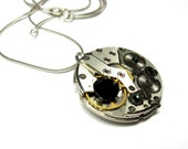 SteamPunk Pendant with Black and Green Swarovski Crystals - Russian Watch - Clockwork - Communism, Iron Curtain - Free Shipping