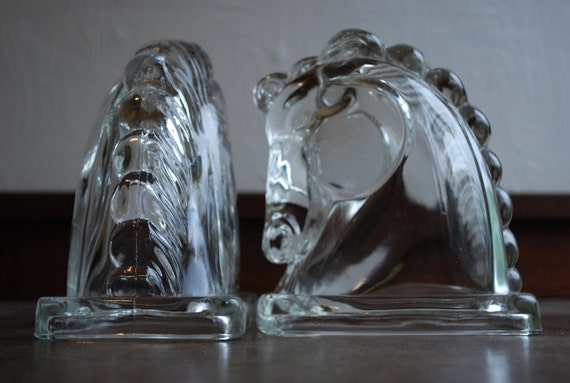 Pair of Clear Glass Horse Head Bookends - Mid Century - by Federal Glass Co.