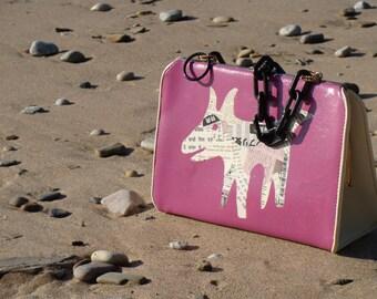 Upcycled Vintage 1960s purse, Hand Painted, Decoupage Dog Handbag