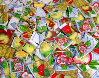 FREE SHIPPING 100 APPLE Valley Large Mosaic Tiles Tesserae Handmade Cut Nipped Dinnerware Plates Dishes Flowered Mosaics