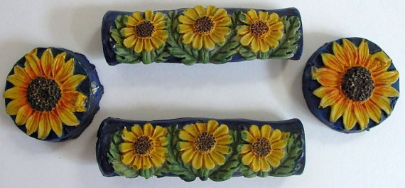 FREE SHIPPING SUNFLOWER Resin Decorative Handles and Buttons