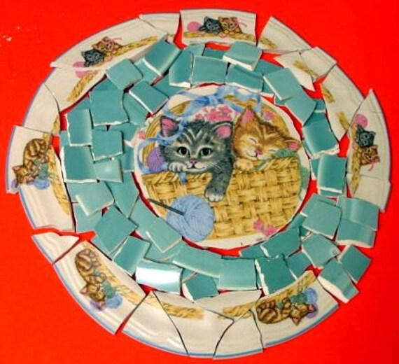 95 KITTENS in a BASKET with FOCAL Center Mosaic Tiles Tesserae Handmade Cut Dinnerware Plates Dishes Flowered Mosaics