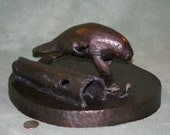 Manatee Mother & Calf Solid Bronze Lost-Wax Signed by Artist Unique