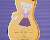 Printable Tangled Rapunzel birthday party invitations