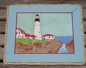 SOLD - BEACH COTTAGE Vintage Lighthouse Painting in Upcycled Aqua Frame w/ Rope Trim - Number 2 of 4