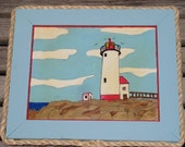 FINAL Sale - BEACH COTTAGE Vintage Lighthouse Painting in Upcycled Aqua Frame w/ Rope Trim - Number 4 of 4