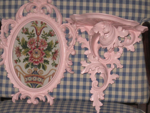 Ornate Vintage Wall Set - Fancy Oval FRAME w/ Convex Glass AND Fancy Carved Wood Shelf in Pretty Petal Pink Paint - CLEARANCE