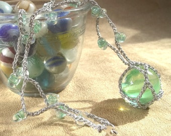 Green Cat's-Eye Marble Pendant