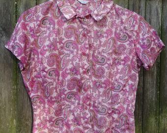 60's Vintage Pink Paisley Secretary Blouse
