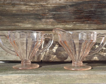 Champagne Pink Glass Sugar & Creamer Set