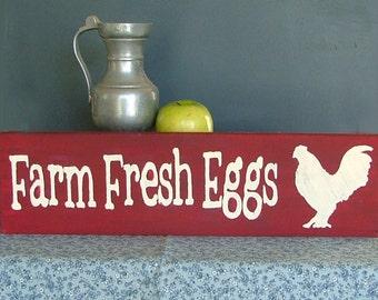 Farm Fresh Eggs Wooden Sign (Cranberry)