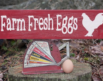 Farm Fresh Eggs Wooden Sign (Barn Red with Crackle Effect)