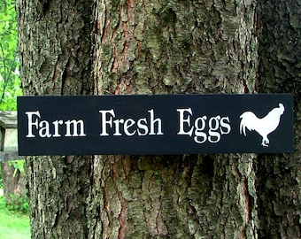 Farm Fresh Eggs Wooden Sign (Black and White)