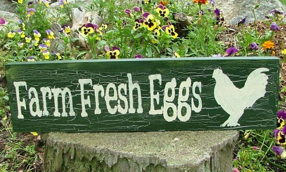 Chicken Coop Farm Fresh Eggs Wooden Sign (Pine Green with Crackle Effect)