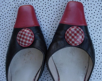 SALE - MAUD FRIZON PaRiS - 1980s Designer Mules // Red Black White// AvanT GardE // all leather- size 7.5