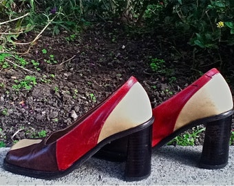 SALE - Geometric Design Chunky Heels - Cherry,chocolate, and cream - all leather made in Italy,size 6 US
