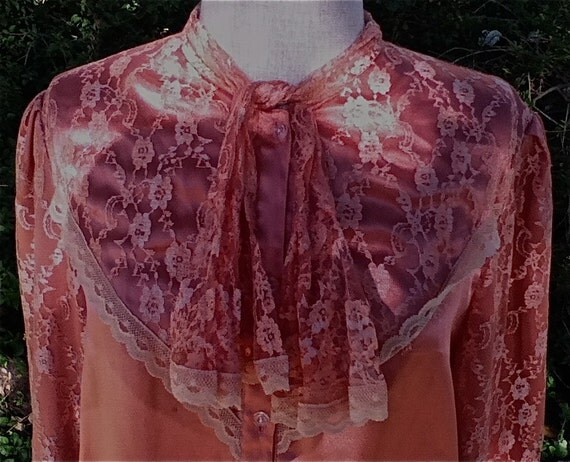 SALE - Pretty Shiny Peach Lolita Satin and Lace Blouse with Ruffled Neck Tie-Neo Victorian-Western Style Cowgirl -1970's