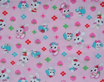 1 meter/yard - Lecien Fabric  - Pink Honey Tune Puppies and Bunnies