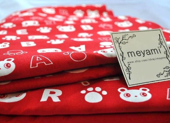 1 meter/yard  Bears and Alfabets Japanese Fabric