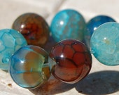12mm Fire Agate Beads in Teal Blue Round Stones -8 inch strand