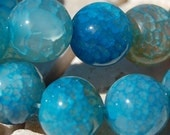 12mm Dragon Veins Agate  Round Beads in Teal Blue -7 inch strand