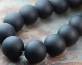 10mm Black  Agate, Frosted Round Beads in Opaque Matte Finish -15 inch strand
