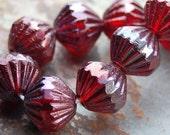 9mm Fluted Czech Glass Beads in Ruby Vega -25 Czech Beads