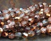 4mm Antique Copper Crystal Czech Glass Faceted Bead  -50 czech beads