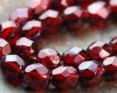 4mm Dark Ruby Fire Polished Czech Glass Faceted Bead  -50 czech beads
