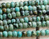 African Turquoise Jasper Rondelles 4x6mm beads -15 inch strand